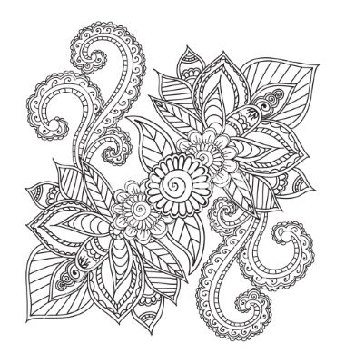 Coloring pages for adults henna mehndi doodles vector | Flores y ...