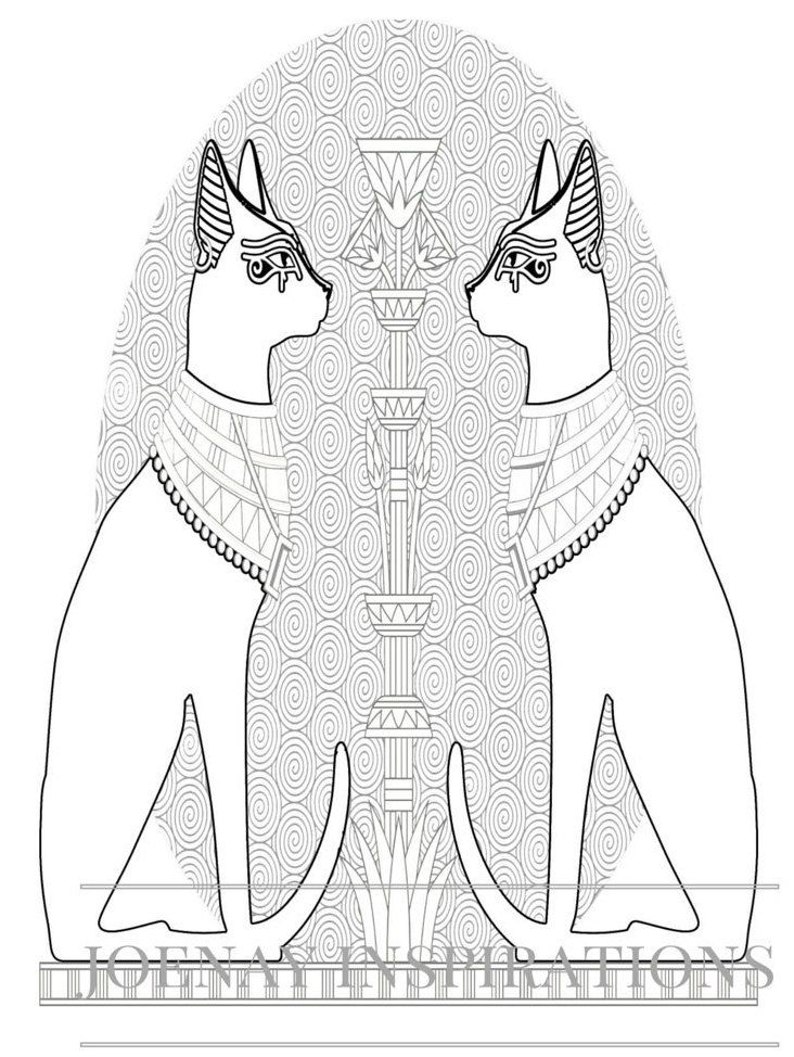 Egyptian Cats Adult Coloring Pages By Joenay Inspirations