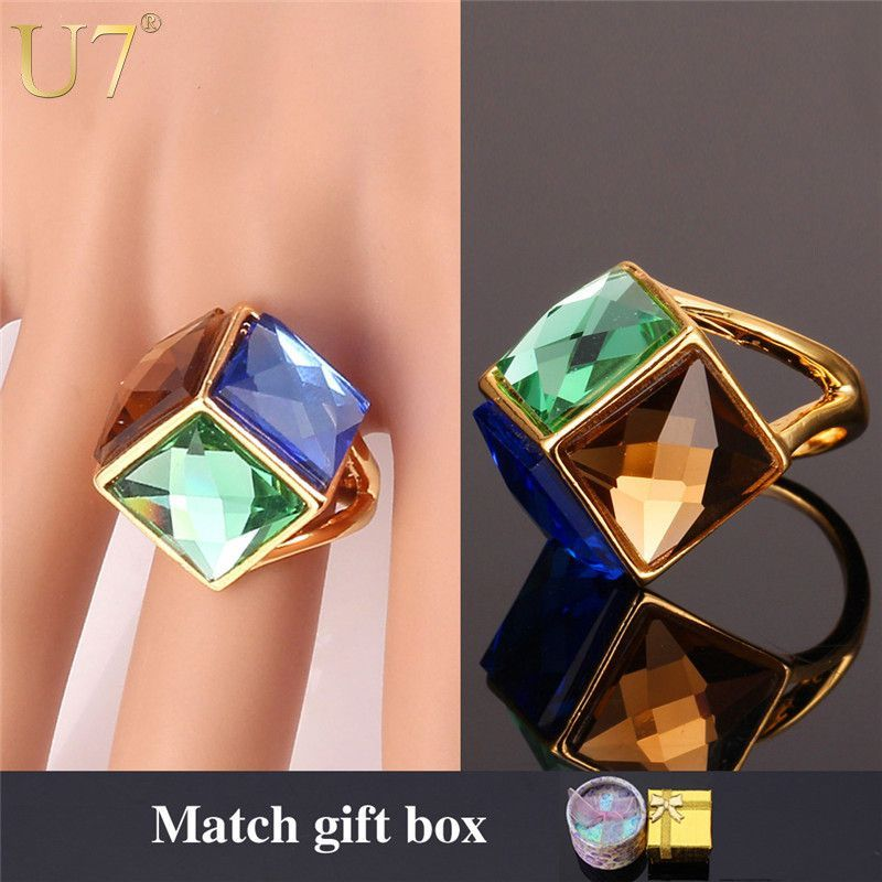 Crystal Cubic Ring For Women Gold Plated Colorful Fancy Stone