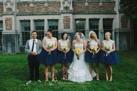 59eba1530c9fa Navy Bridesmaid Tutu Skirt Navy Blue Tulle Skirt Tea Length Long ...