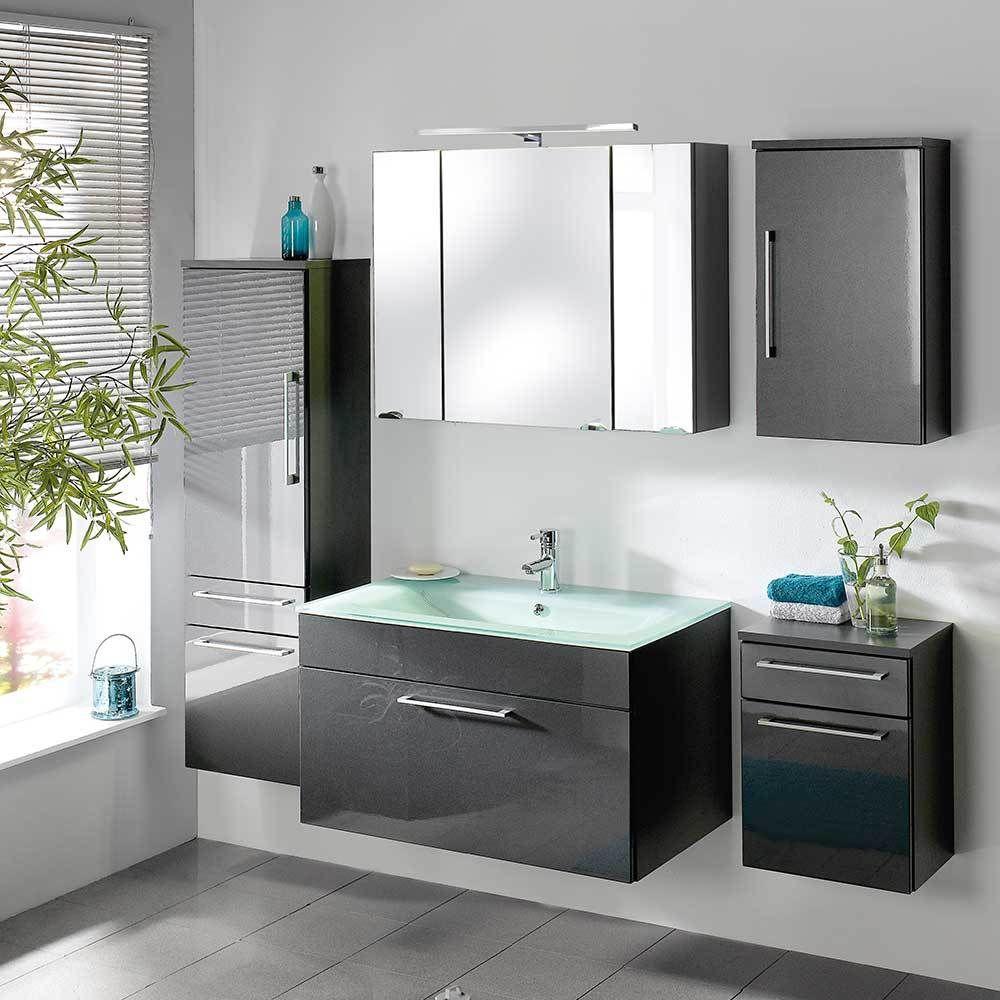 Badezimmermöbel Set in Anthrazit Hochglanz online kaufen (5-teilig ...