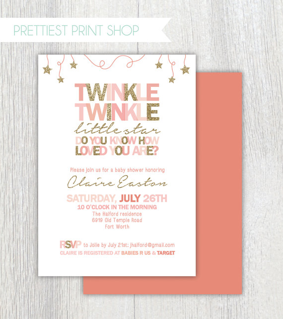 Printable Twinkle Twinkle Little Star invitation - Pink and gold
