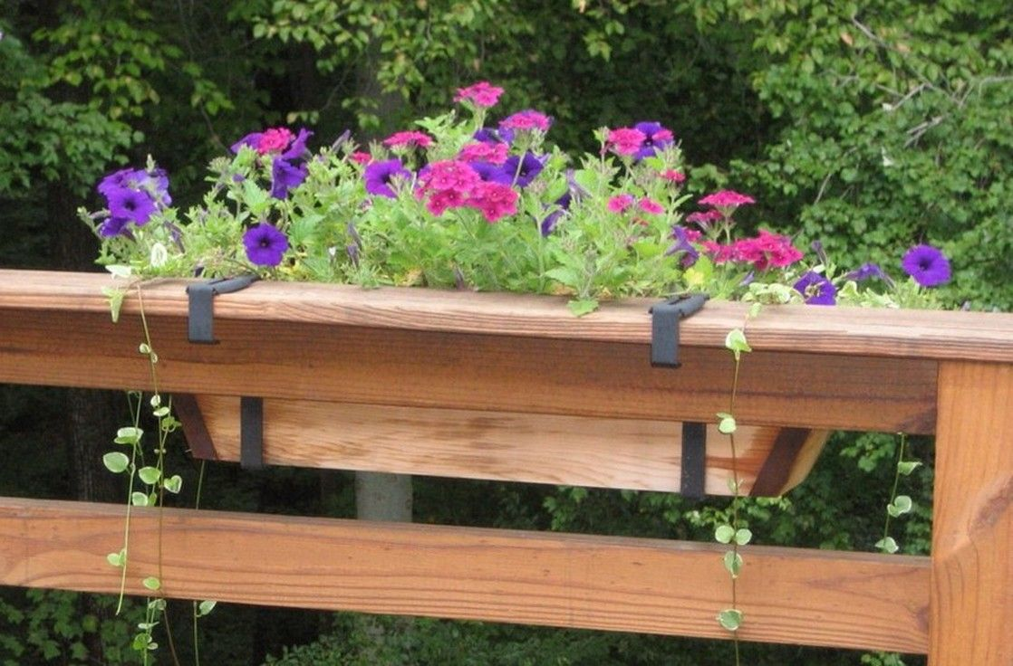 brackets lowes planter adjustable option flower holder into flowers the deck planters for custom railing choice box glass types rail