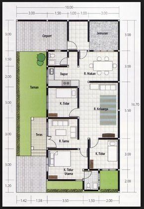 Denah Rumah 3 Kamar Ukuran 6x12 Terbaik Dan Terbaru Denah Rumah Rumah Rumah Minimalis Village house floor plan