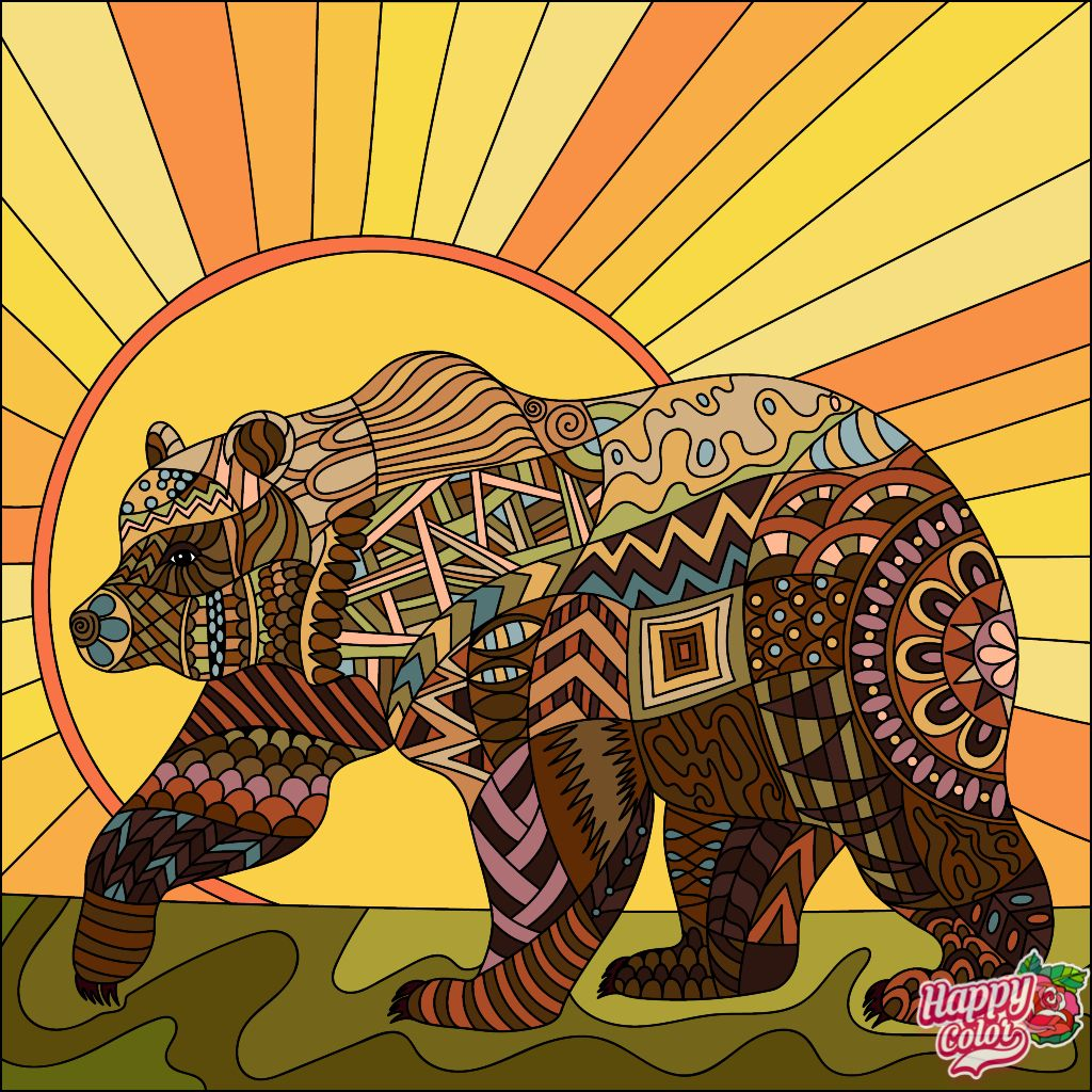 Pin By John Brownell On Animal Instinct Coloring Book Art Tribal Bear Colorful Art