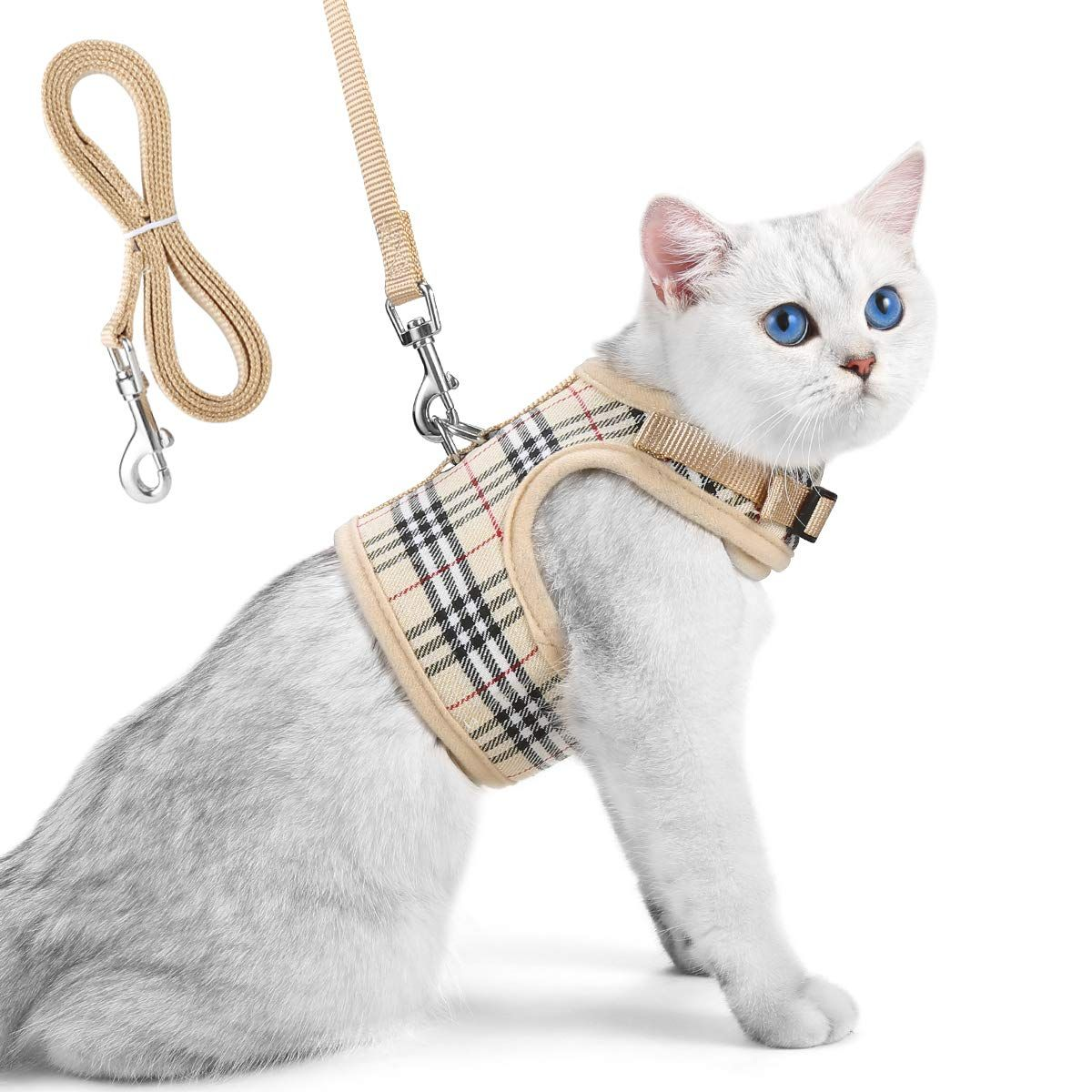Unihubys Cat Harness With Leash Set Adjustable Soft Mesh Material With Strong D Ring For Peace Of Mind Great For Walking Cat Harness Cat Leash Kitten Harness
