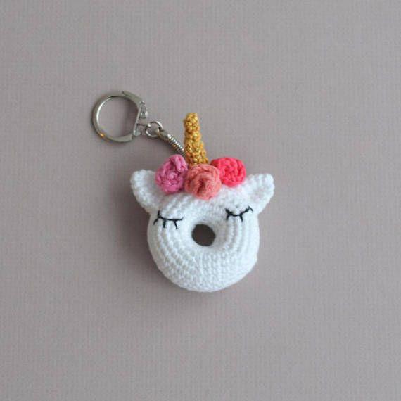 Crochet unicorn keyring crochet doughnut keyring amigurumi keychain crochet crochet porte - Porte cle crochet ...