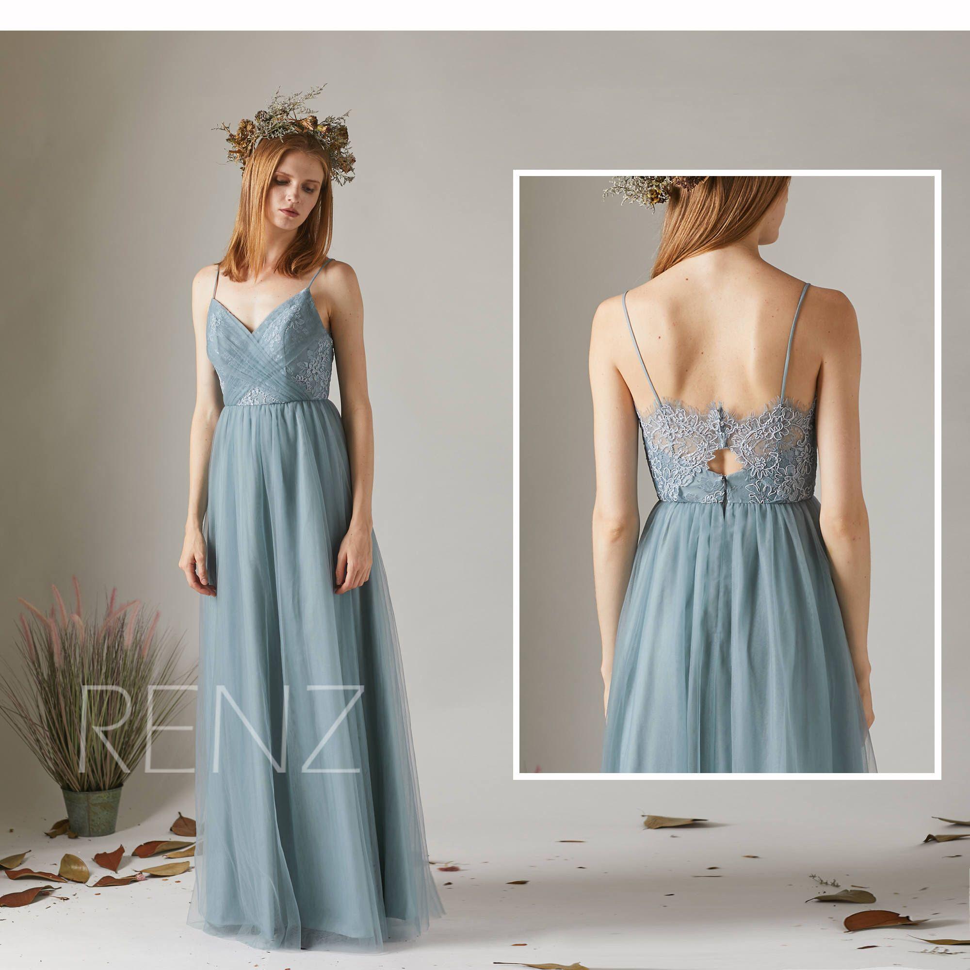 Bridesmaid dress dusty blue tulle dress wedding dressspaghetti