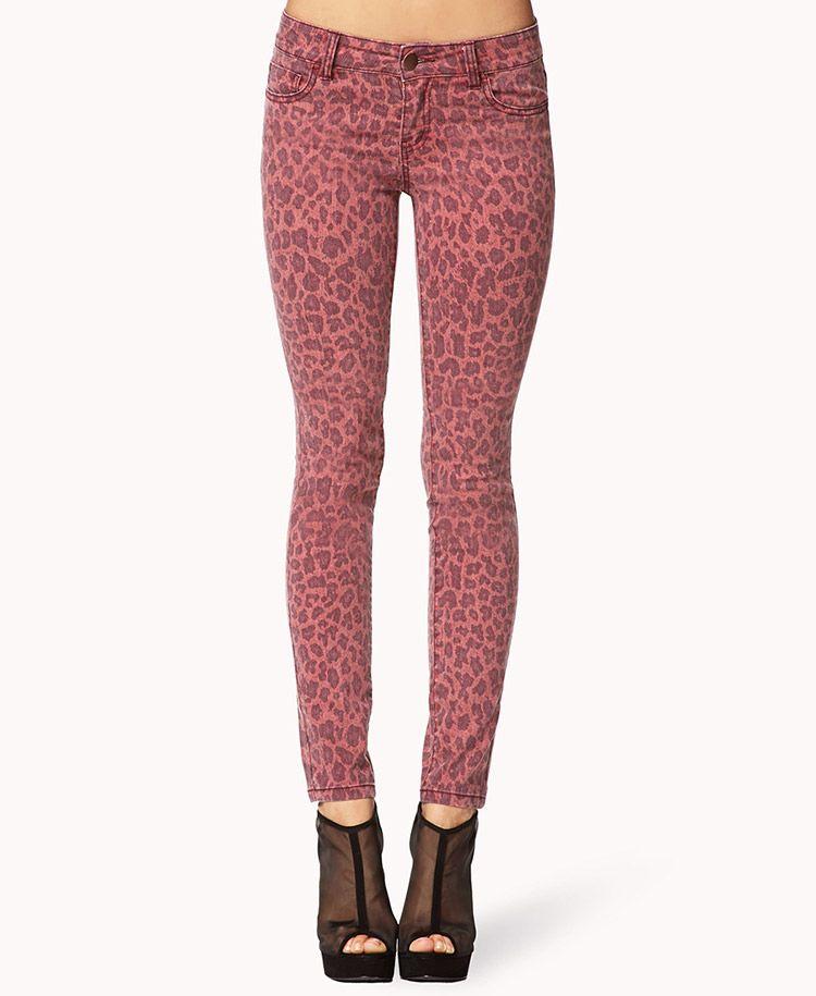 cab473661068 Leopard Print Skinny Jeans | FOREVER21 Grrrr #Leopard #ColoredDenim  #MustHave #Red