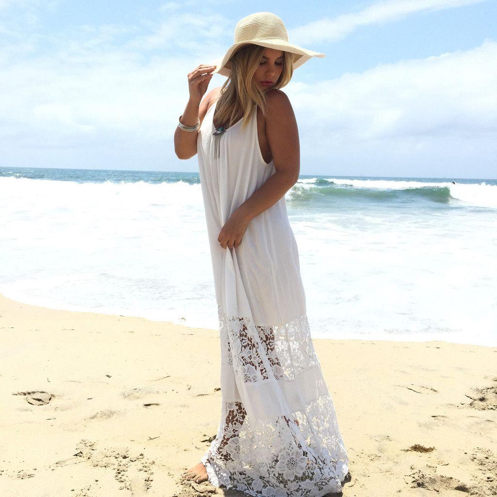 Sun Dried Crochet Panel Maxi Dress In White