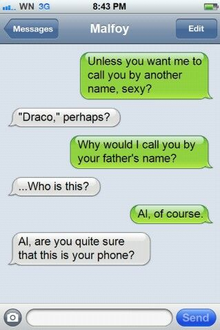 ALBUS ACCIDENTALLY TEXTING HIS BOYFRIENDS DAD FROM HARRY'S PHONE OMFG I AM 100% ON BOARD WITH THIS