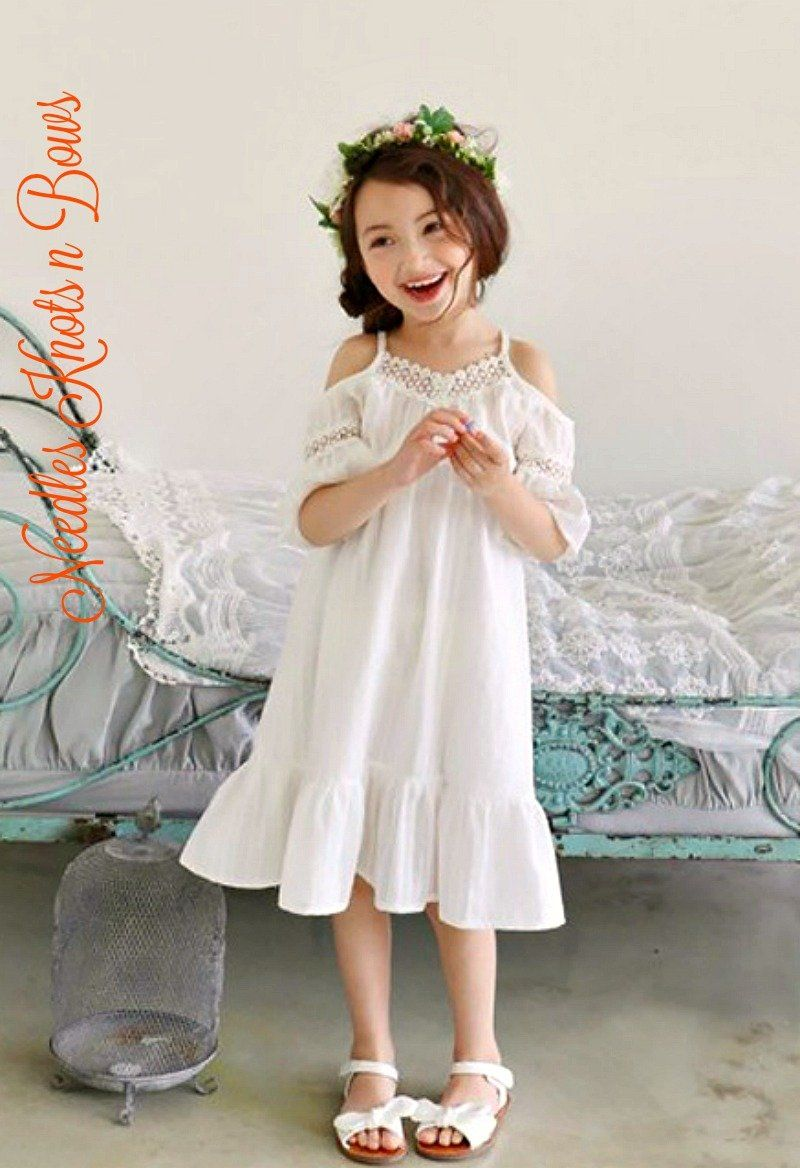 Girls White Over The Shoulder Bohemian Style Dress Toddlers Girls