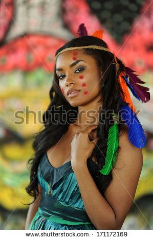 Beautiful Cherokee Black Indin Goddess Portrait Of Young Beautiful Indian Cherokee Woman With Feathe African American Native American Feathers Black Beauties