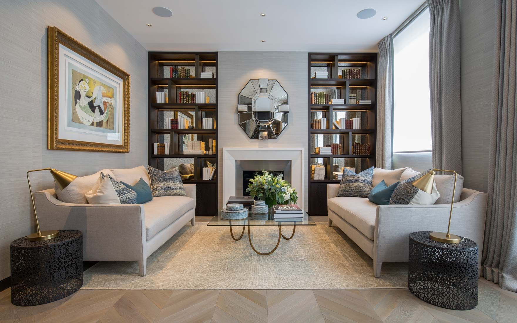 Belgravia drawing room with fireplace and bespoke dark stained oak ...
