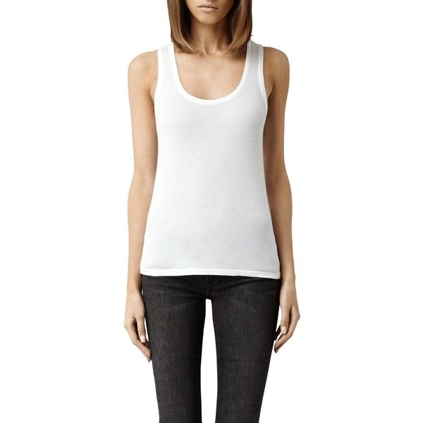 AllSaints Stam Vest Top , Optic ($28) ❤ liked on Polyvore featuring tops, optic, white sleeveless vest, lightweight vest, layering tanks, white sleeveless top and slimming tank