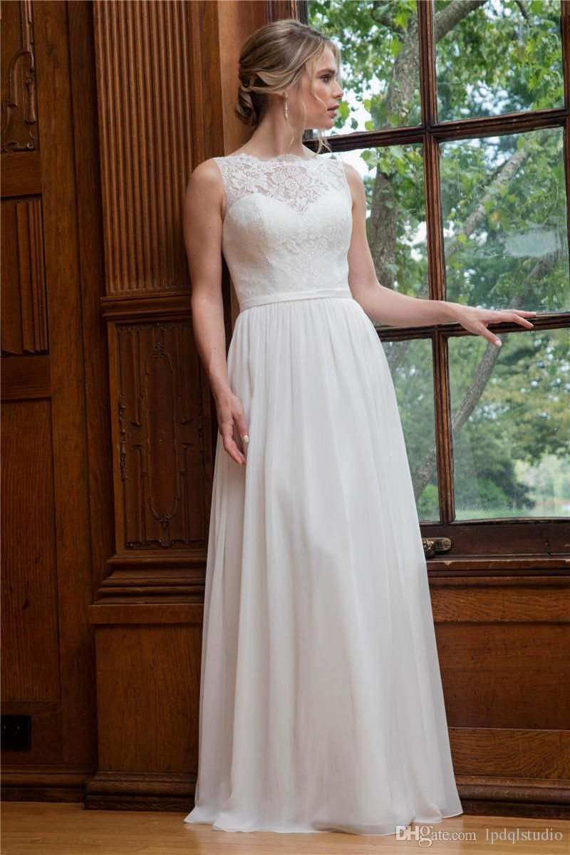 Aline wedding gown features lace top chiffon skirt elegant lace