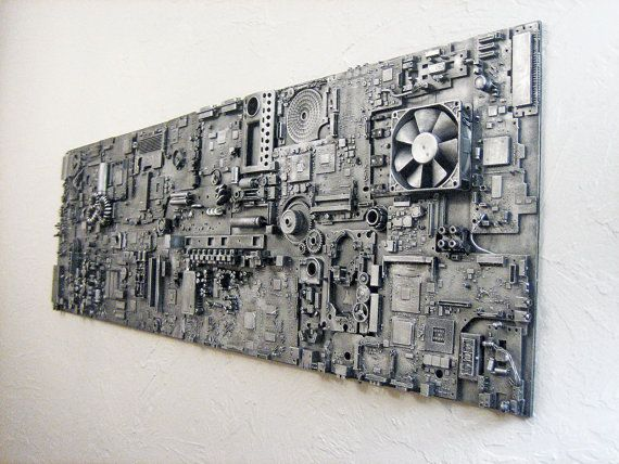 Industrial art assemblage. Repurposed electronics computers. Unique gift for men…