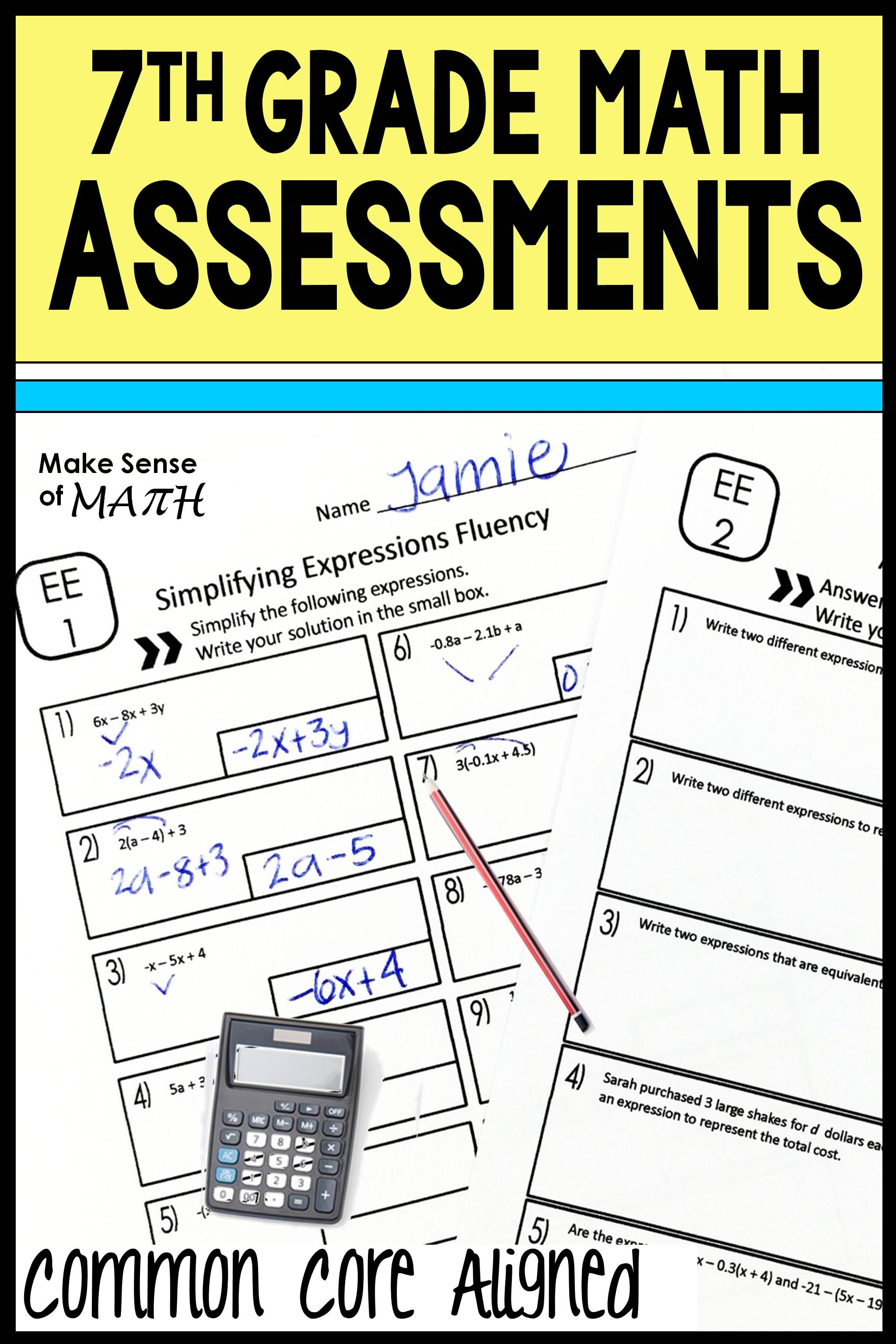7th Grade Math Assessments Common Core Bundle Editable
