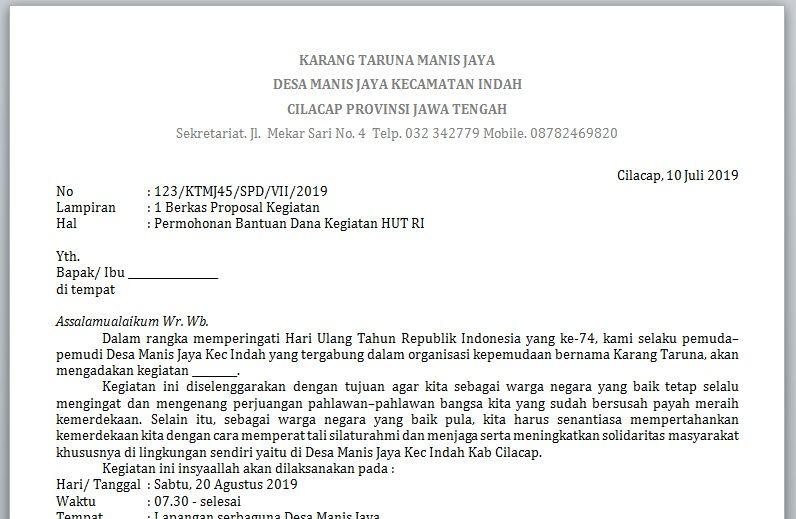 Contoh Surat Proposal Permohonan Dana 17 Agustus Proposal 17 Agustus Surat