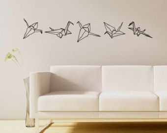 origami crane vinyl wall decals pinty pinterest origami cranes origami and wall decals. Black Bedroom Furniture Sets. Home Design Ideas