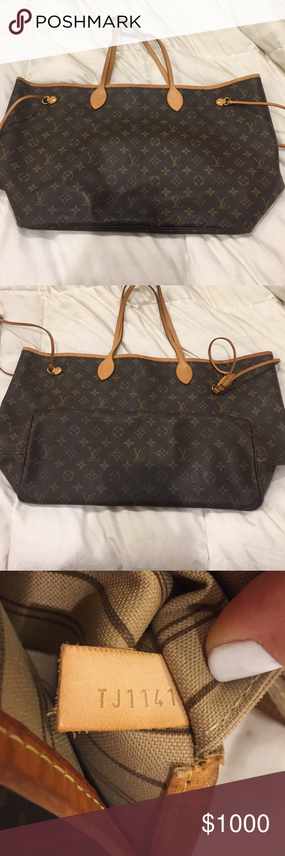 Louis Vuitton Neverfull GM Excellent condition! No cracks in trim. Moderate  patina on the handles. Ink stain on the interior. No dust bag. Louis Vuitton  ... b13b6684a7