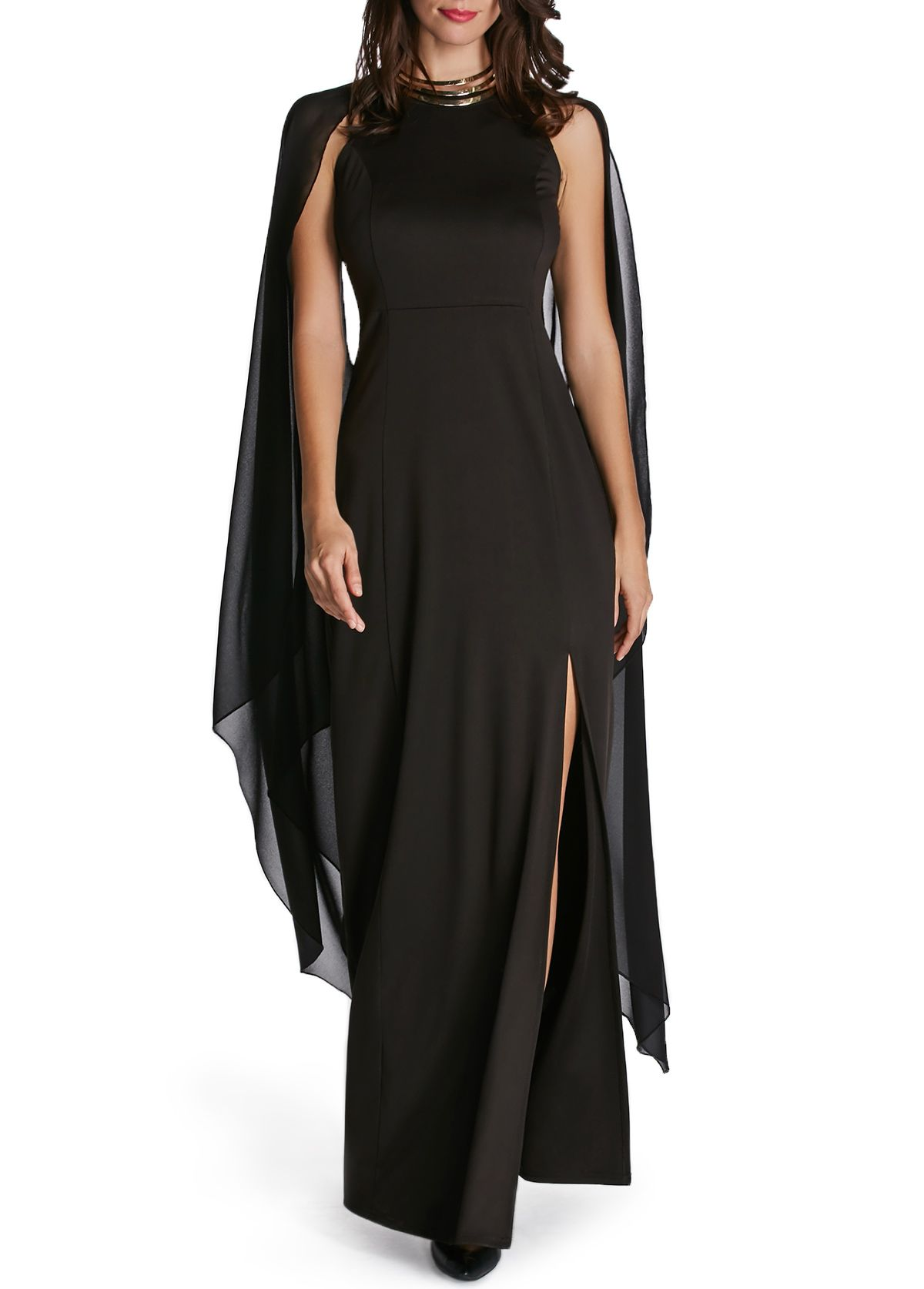 Cape sleeve front slit solid black maxi dress in my favorite