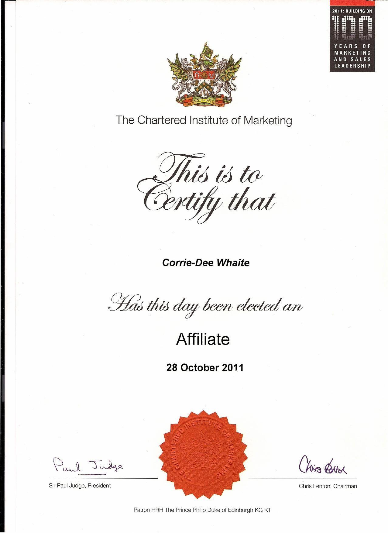 Acim Affiliate Member Of Chartered Institute Of Marketing Cpd