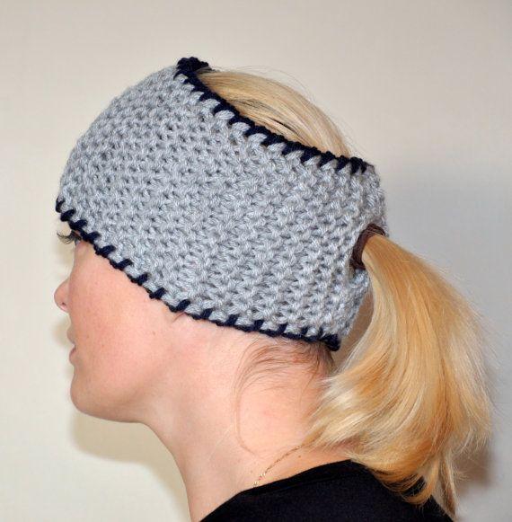 HEADBAND Crochet Ponytail Hole Knitted Earwarmer CHOOSE COLOR Gray ...