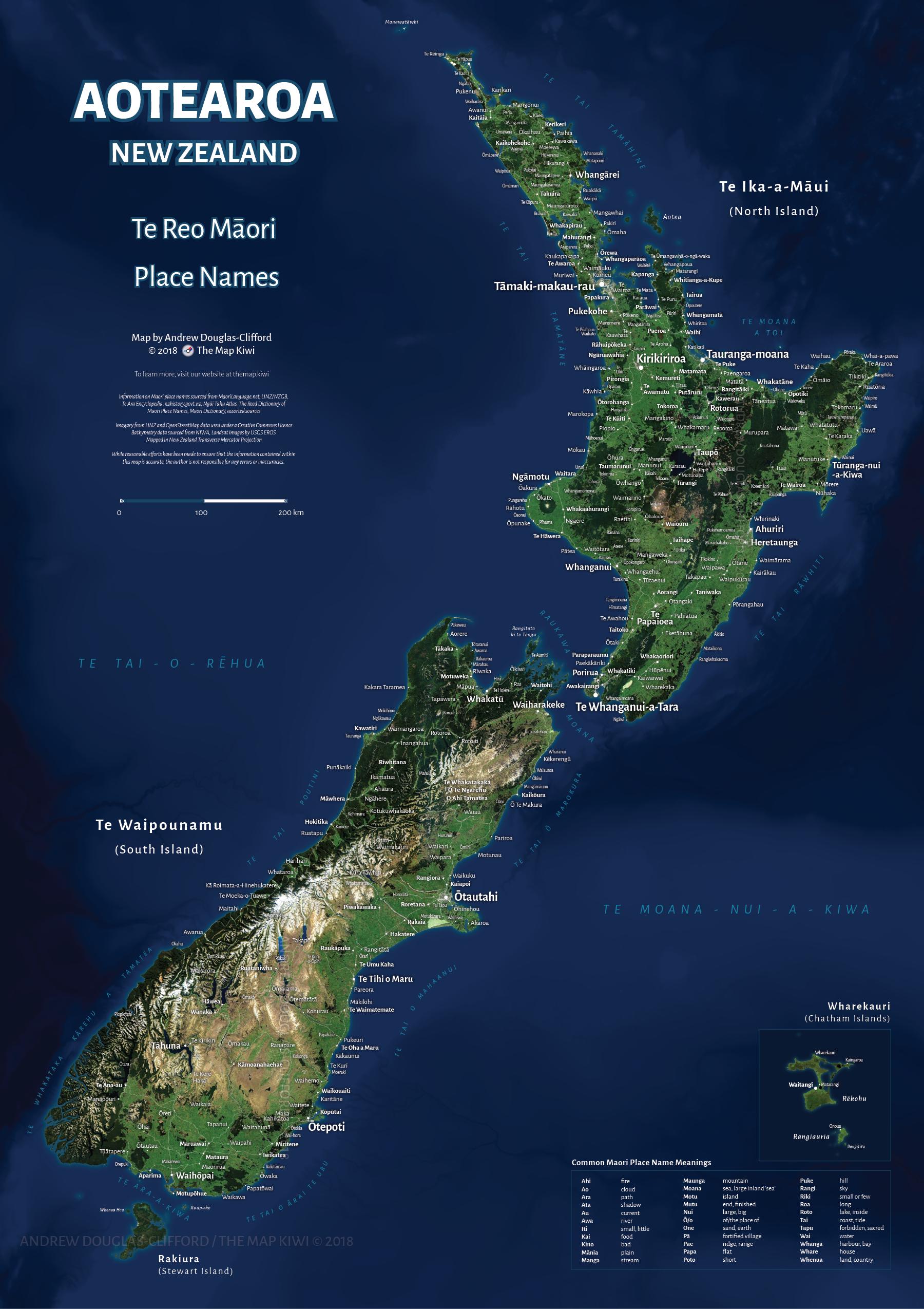 Australia Map Satellite.Maori Place Names Satellite Map Of Aotearoa New Zealand Maps Of