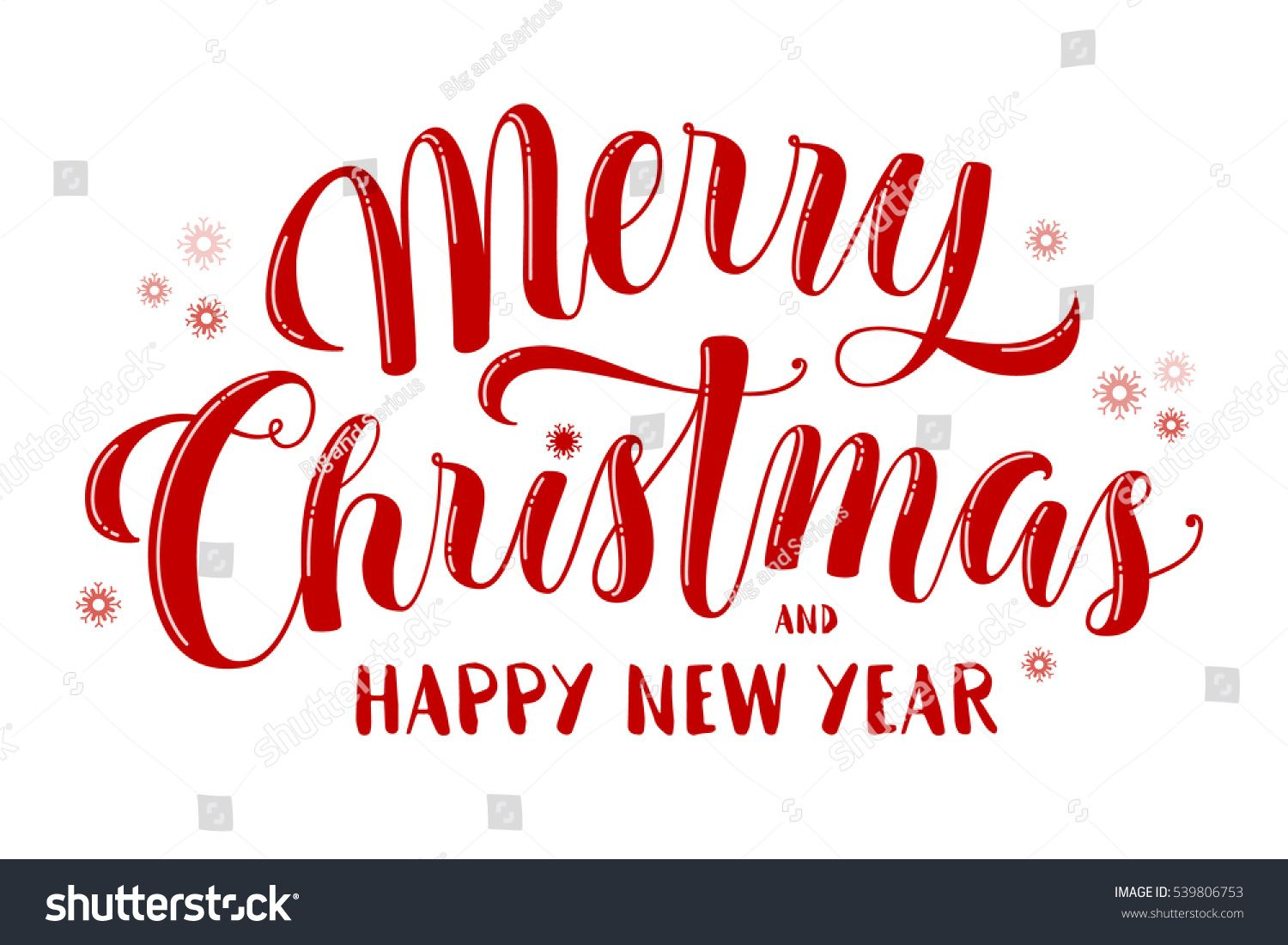 Merry Christmas and Happy New Year text, lettering for