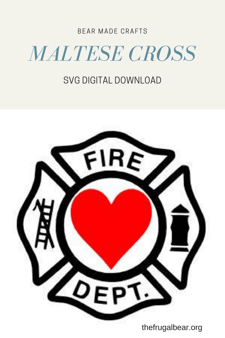 Maltese Cross Firefighter With Heart Center Svg Includes A File