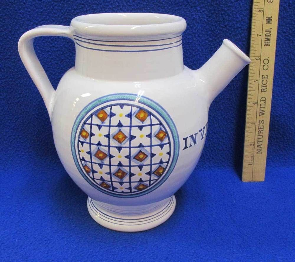 Williams Sonoma Wine Jug Grand Cuisine Pitcher Pottery Italy 663 In
