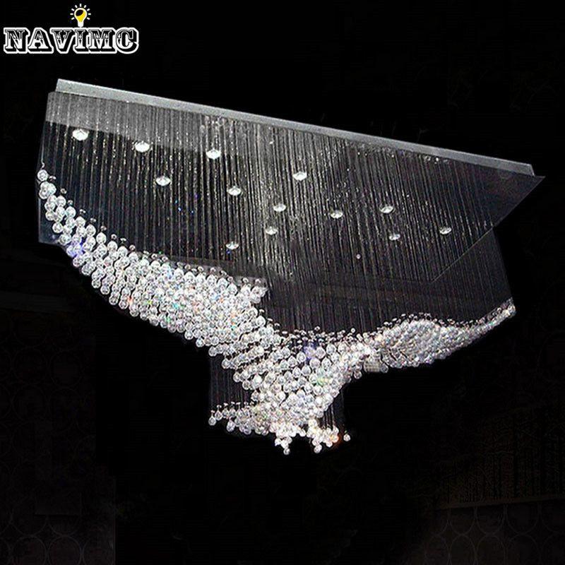 Günstige New Eagles Design Luxus Moderne Kristall Kronleuchter Beleuchtung  Glanz Halle Led Leuchten Cristal Lampe L100 * W55 * H80cm 110 V 220 V, ...