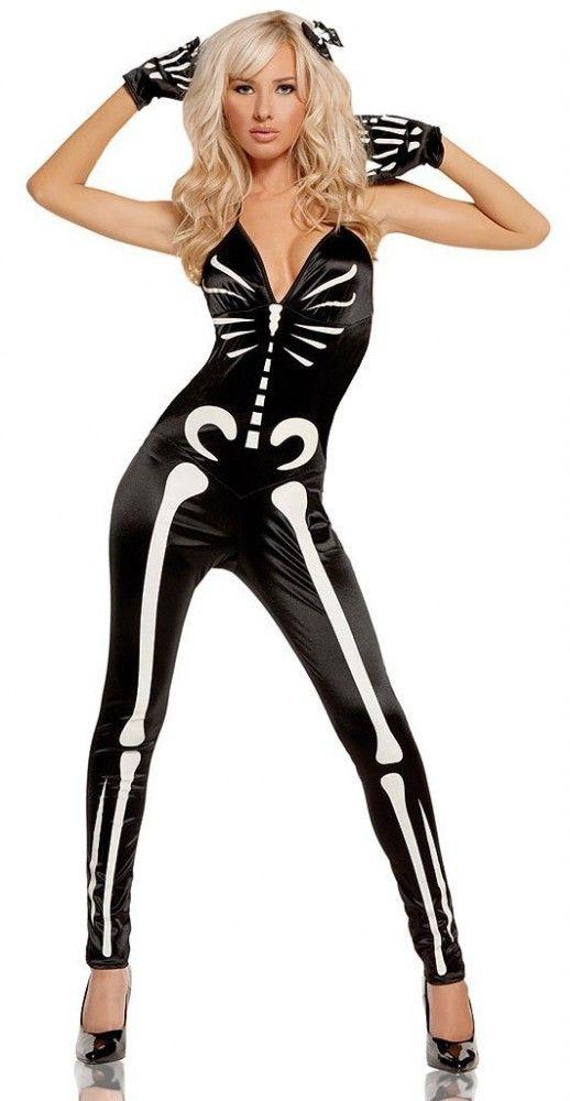 halloween costumes sexy skeleton black bodysuit