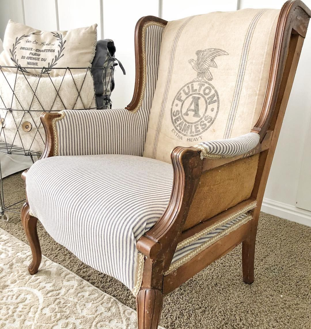 Deconstructed Wingback Chair Using A Grain Sack And Ticking Fabric Deconstructed Chair Upholstered Furniture Furniture