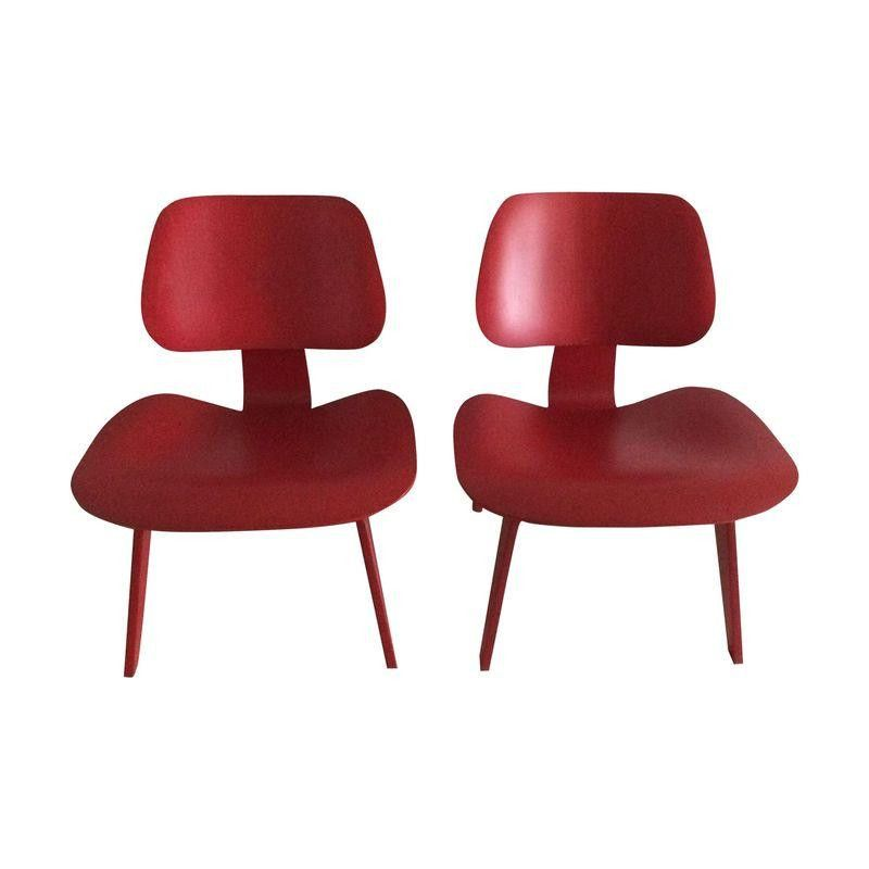 Red Lacquer Eames LCW Chairs - A Pair - FOR SALE on Chairish