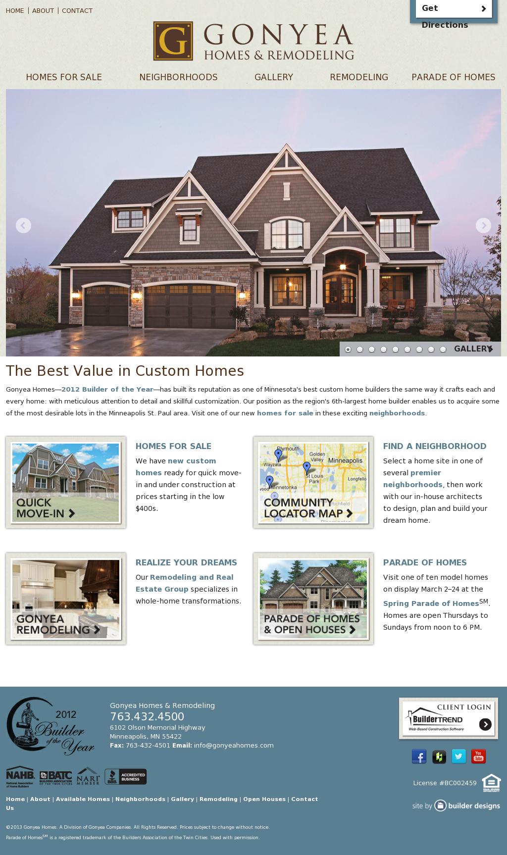 Gonyea Homes Remodeling Website Design Web Design Homes