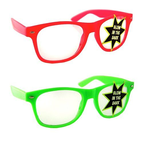 76831f404f9 Lot of 2 Nerd Glasses Buddy Holly Wayfarer (Glow in the Dark Pink and Green Clear  Lenses) H2W