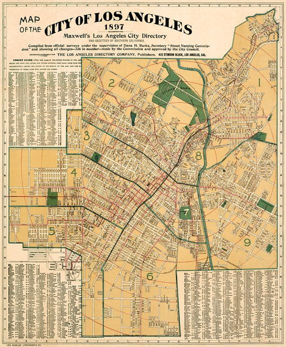 Map of Los Angeles Large wall map Los Angeles city map restored