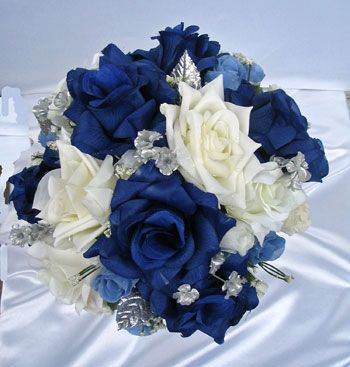 21pc Bridal Bouquet Wedding Flowers NAVY IVORY SILVER