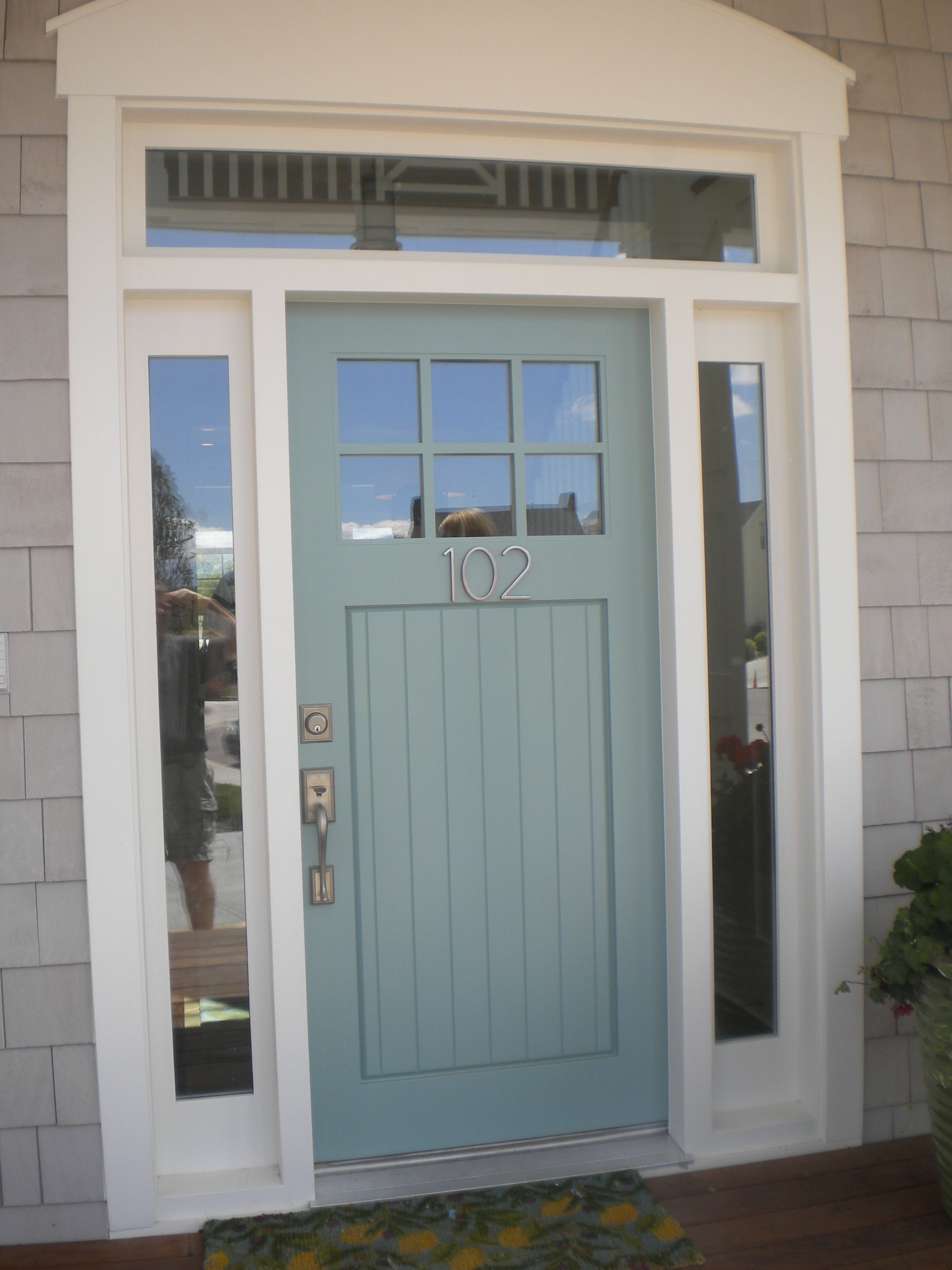 Blue Gray Front Door With Brushed Nickel Hardware Love This Color For
