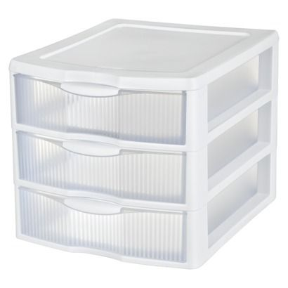 Sterilite 3 Drawer Medium Countertop Unit White With Drawers Clear