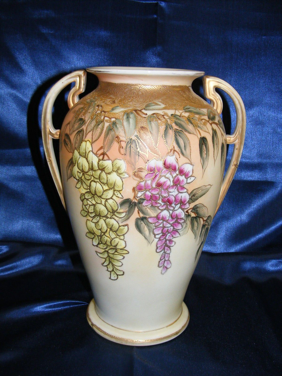 1880s imperial nippon double handled 12 vase mark 38 hand 1880s imperial nippon double handled 12 vase mark 38 hand painted wisteria reviewsmspy