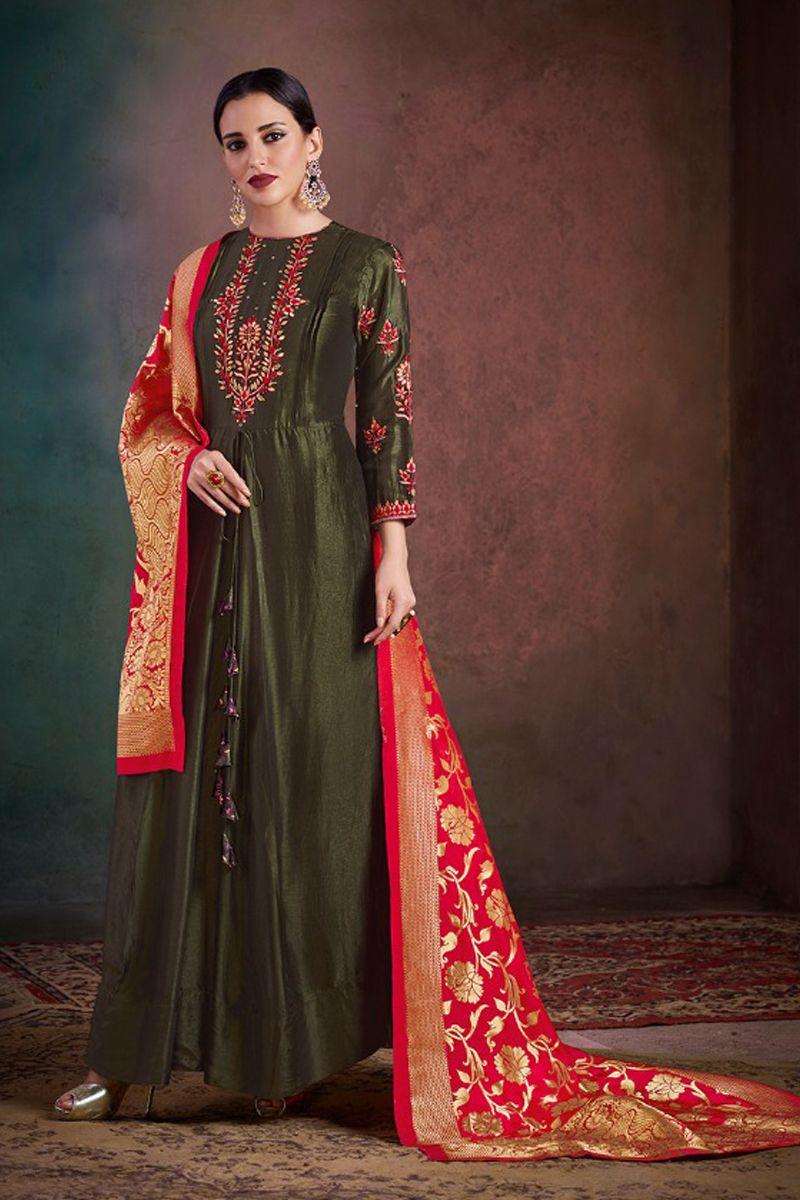 27f2c10ef1 Green-Silk-Embroidered-Evening-Wear-Designer-Anarkali-Salwar-Suit ...