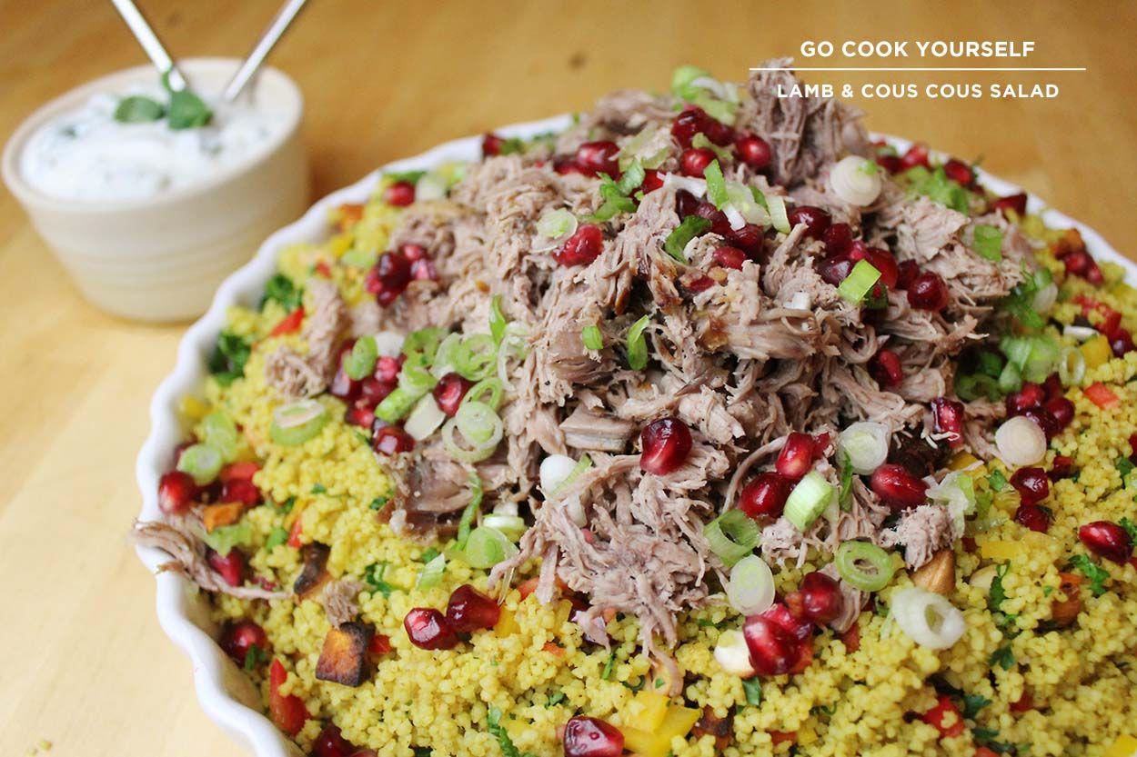 Lamb & Cous Cous Salad 2kg Lamb Shoulder / Sweet Potato / Cous Cous / Pomegranate / Red Bell Pepper / Scallions / Cashew Nuts / Creme Fraiche / Mint / Cilantro / Salt / Pepper / Curry Powder (1)
