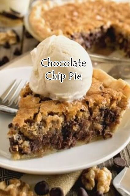 chocolate chip pie  #easypierecipes