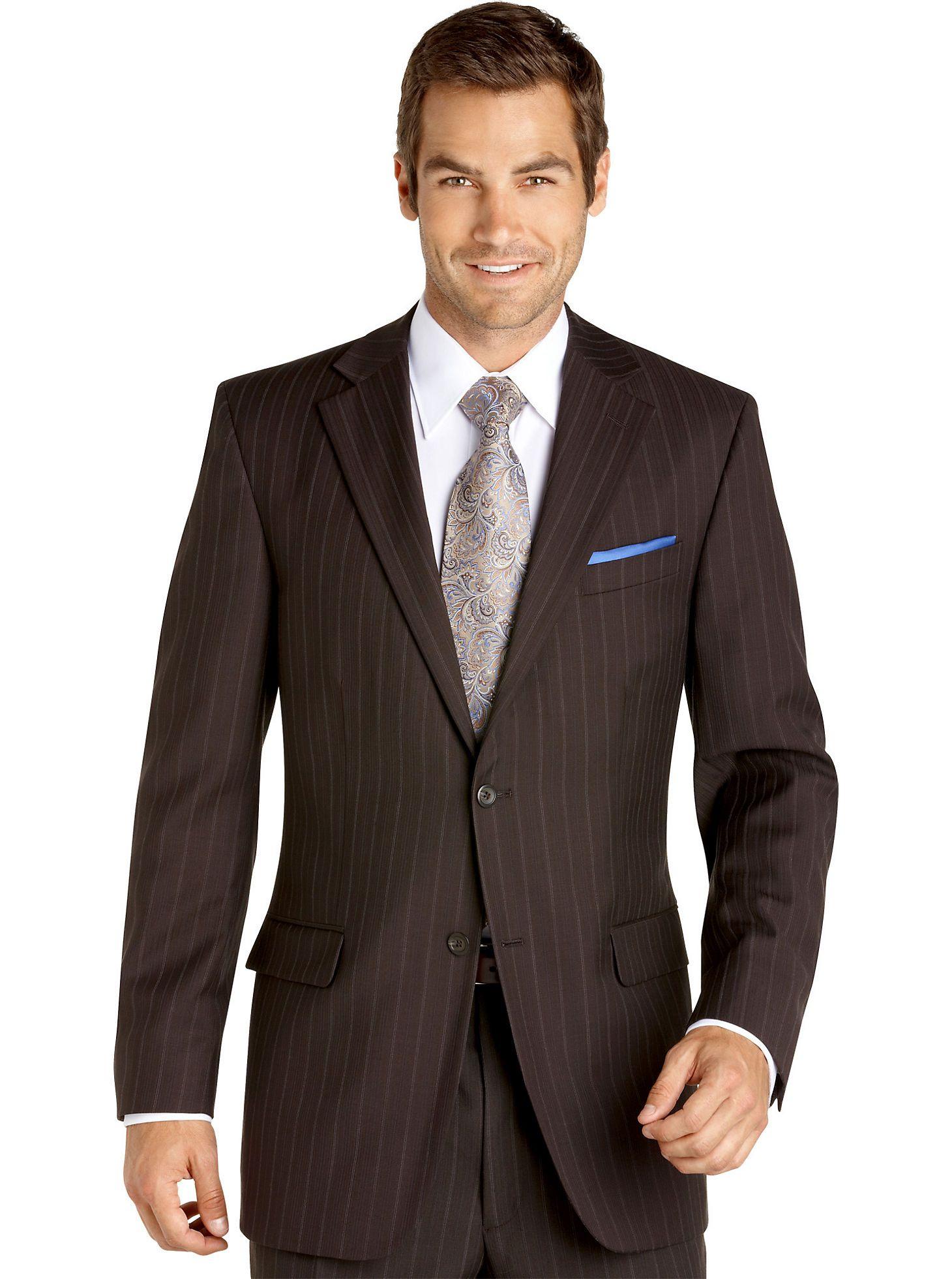 Mens Geoffrey Beene Brown Multi Stripe Suit Men's