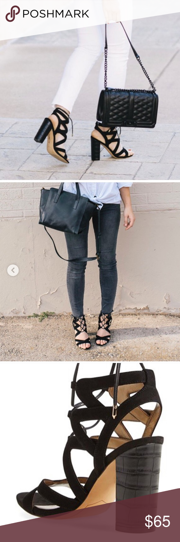 d0517bfd4fc Sam Edelman Yardley lace-up in black sandals Sam Edelman Yardley lace-up  sandals. Leather or suede upper. Lace-up design. Open-toe