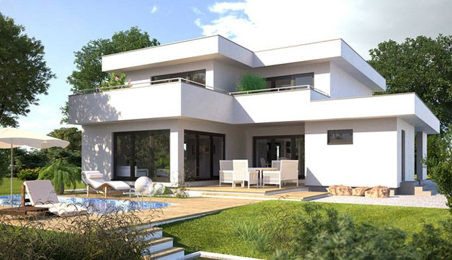 Bauhaus Style Facade house, Modern house plans, Modern