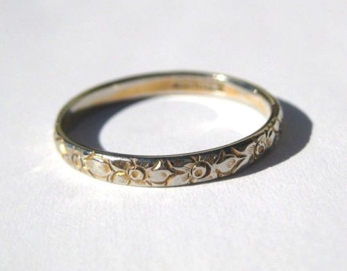 Antique Ostby Barton 2tone 18k Orange Blossom Engraved Wedding Band Ring Titanic Wedding Ring Bands Gorgeous Wedding Rings Wedding Band Engraving